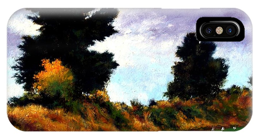 Landscape IPhone X Case featuring the painting Inside The Dike by Jim Gola