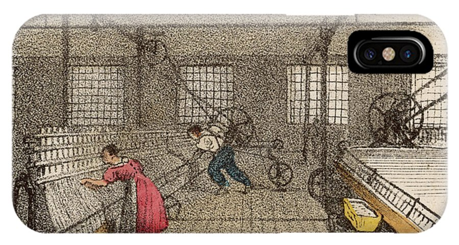 Tending IPhone X Case featuring the drawing Interior Of Cotton Mill With Man by Mary Evans Picture Library
