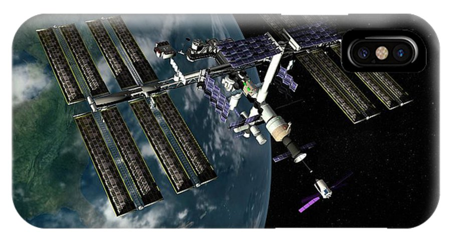 International Space Station IPhone X Case featuring the photograph International Space Station by Paul Wootton/science Photo Library
