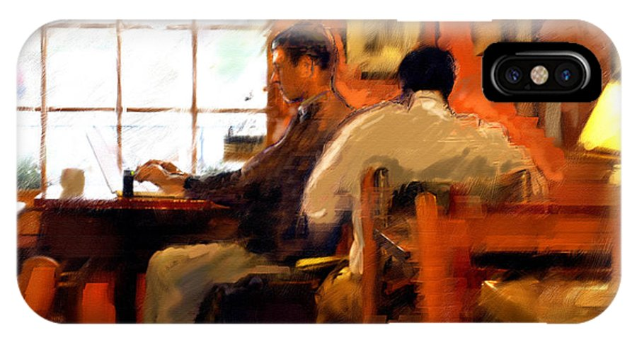 Coffee House Art Paintings IPhone X Case featuring the painting Internet Coffee House by Ted Azriel