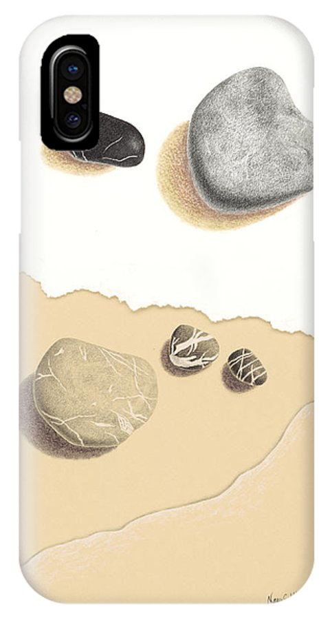 Beach IPhone X Case featuring the drawing Interrupted IIi Against The Tide by Nancy Hilgert