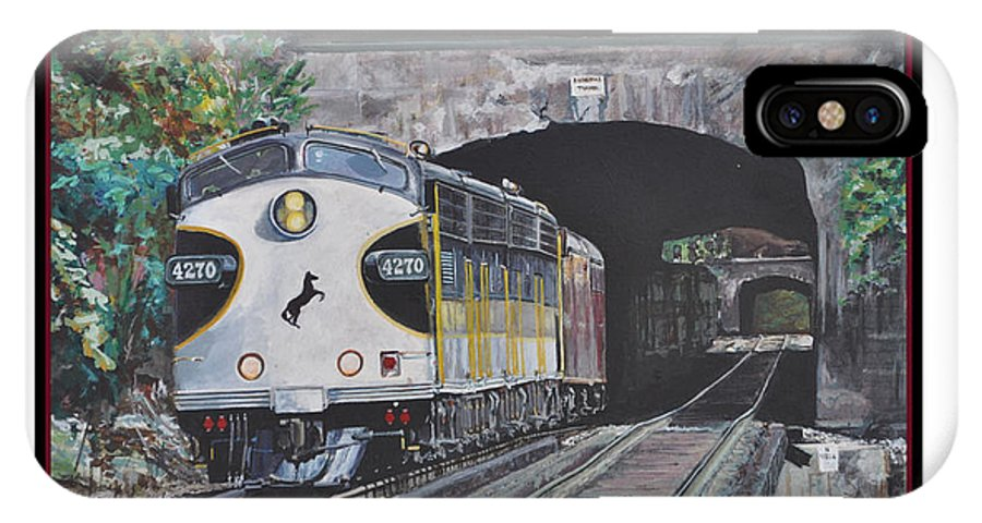 Train IPhone X Case featuring the painting Into The Light Print by Tioga Dan Sloane
