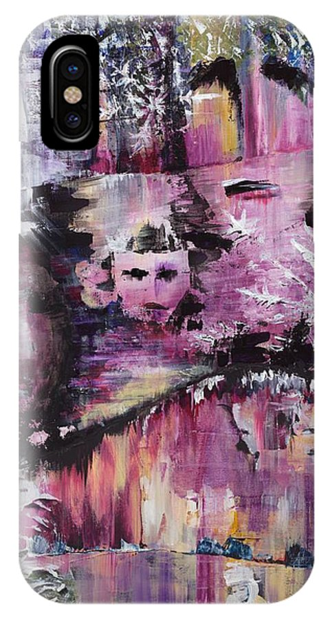 Mirror IPhone X Case featuring the painting Into The Looking Glass by Marielle Teasdale