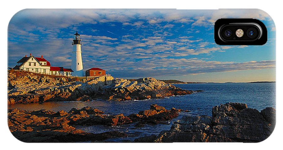 Lighthouse IPhone X Case featuring the photograph Into The Mystic by Jim Southwell