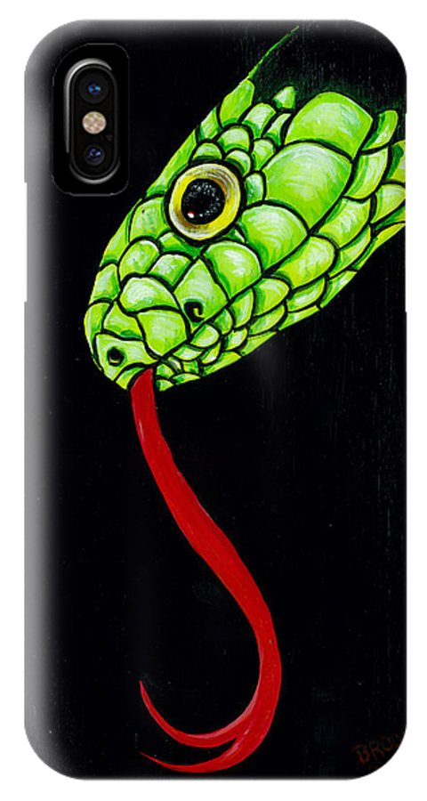 Snake IPhone X Case featuring the painting Into The Night. by Richard Brooks