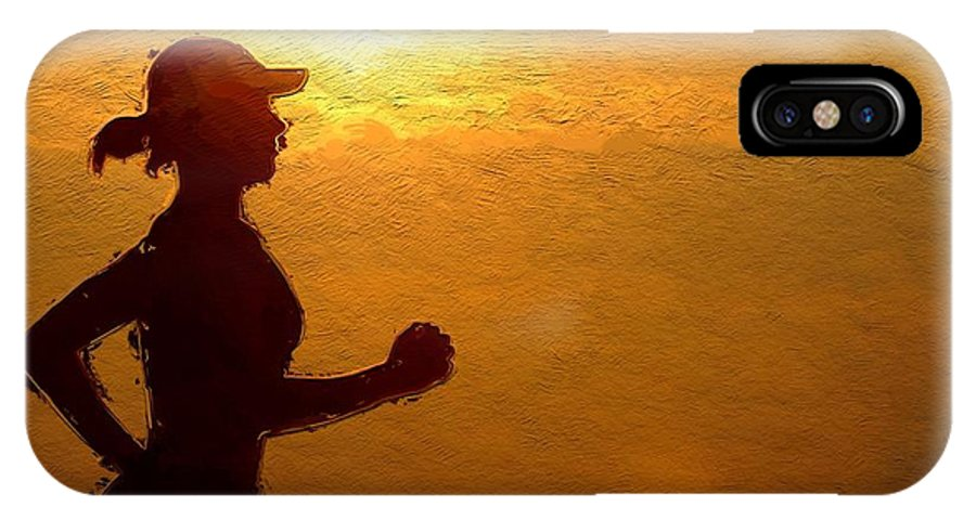 Sun Sunset Clous Woman Girl Female Jogging Sport Silhouette Curves Sexy Expressionism IPhone X Case featuring the painting Into The Sunset by Steve K