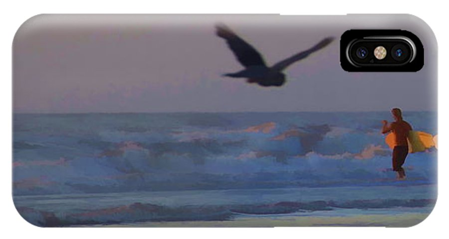 Surfers Ocean Bird Scenic IPhone X Case featuring the photograph Into The Water by Alice Gipson