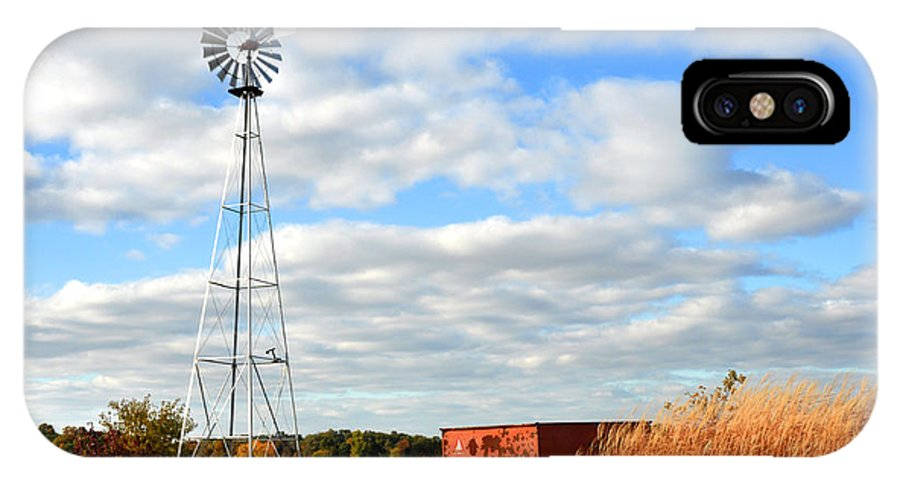 Windmill IPhone X Case featuring the photograph Iowa Windmill by Diane Lent
