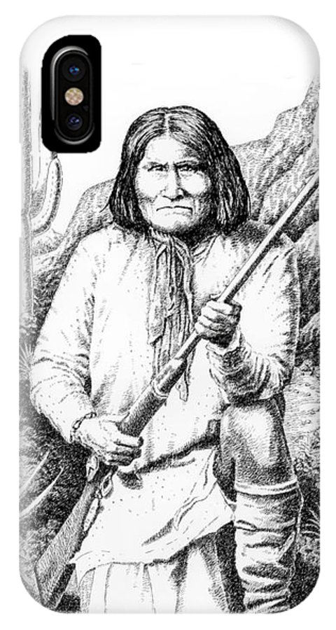 Chief IPhone X Case featuring the drawing iPhone-Case-Geronimo by Gordon Punt