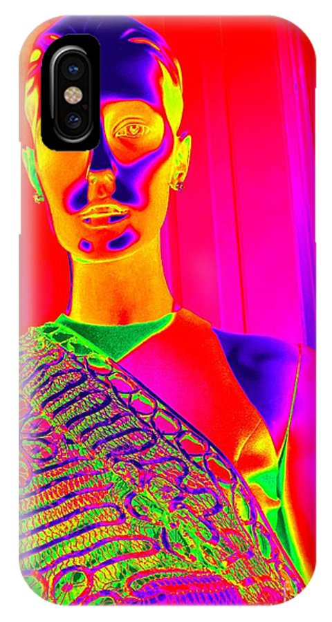 Pop Art IPhone X Case featuring the digital art Iridescent Beauty by Ed Weidman