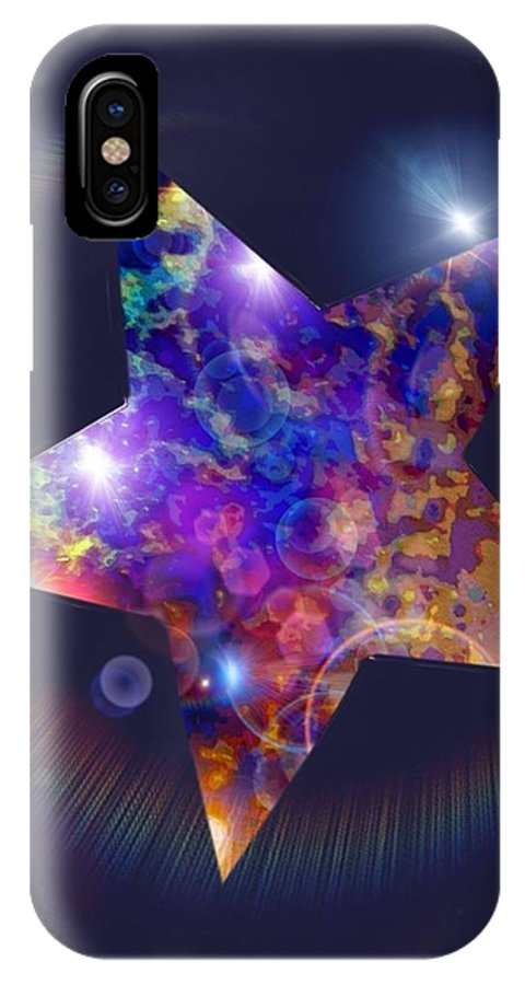 Star Paintings Iridescent Starlight Paintings IPhone X / XS Case featuring the painting Iridescent Star by Nikki Keep
