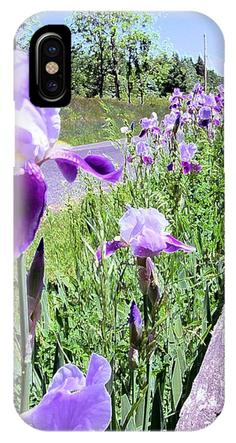 Iris IPhone X Case featuring the photograph Iris Along Fence - Country - Flower by Susan Carella