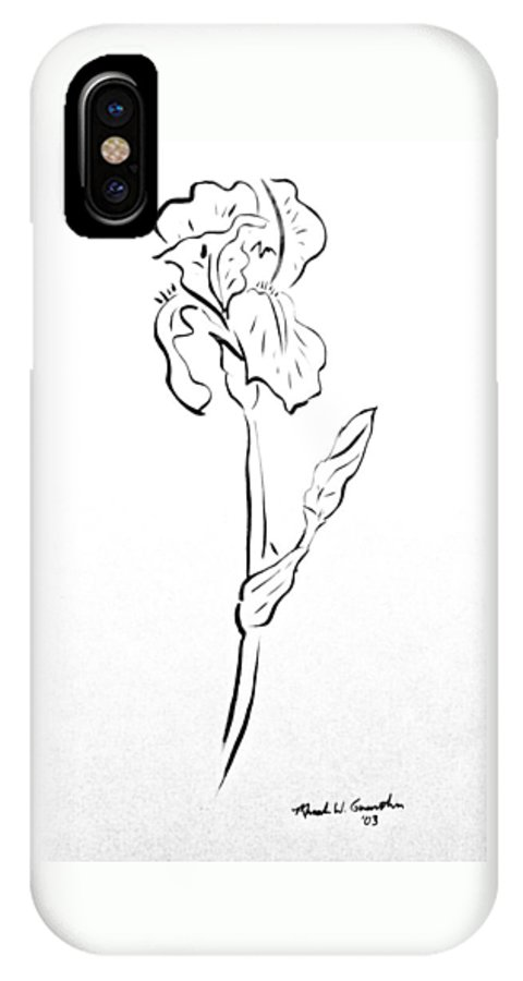 Abstract IPhone X Case featuring the drawing Iris II by Micah Guenther