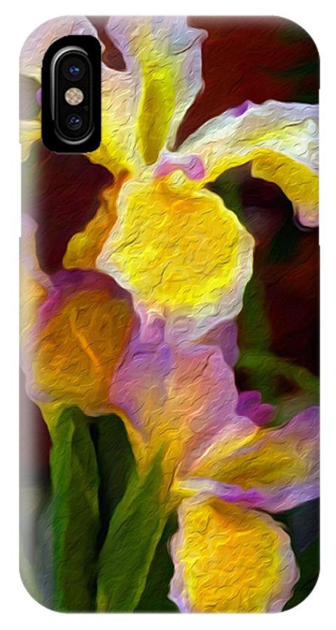 Flower IPhone X Case featuring the painting Iris by Nelson Bibow