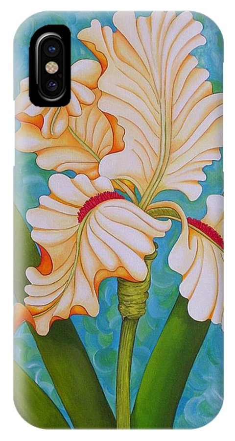 Acrylic IPhone X Case featuring the painting Iris the Beauty of One by Carol Sabo