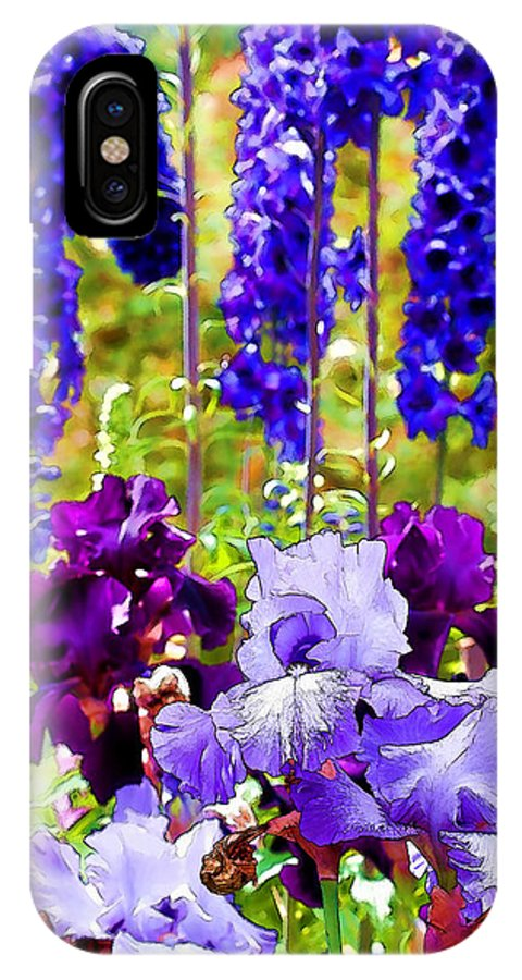 Iris IPhone X Case featuring the photograph Irises And Delphinium In The Garden by Peggy Collins