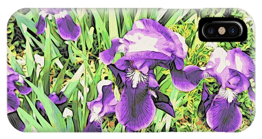 Irises IPhone X Case featuring the photograph Irises In The Garden by Alice Gipson