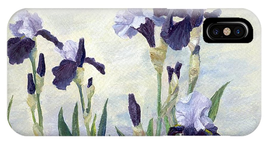 Irises IPhone X Case featuring the painting Irises Purple Flowers Painting Floral K. Joann Russell                      by K Joann Russell