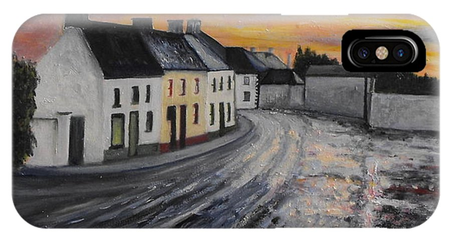 Irish Village IPhone X Case featuring the painting Rathvilly After The Rain by Caroline Cunningham