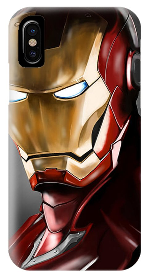 Ironman Drawing IPhone X Case featuring the drawing Iron Man Painting by Luis Padilla