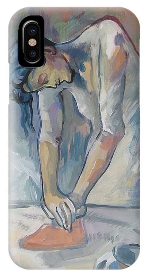 Copy IPhone X Case featuring the painting Ironing Free Copy by Juliya Zhukova