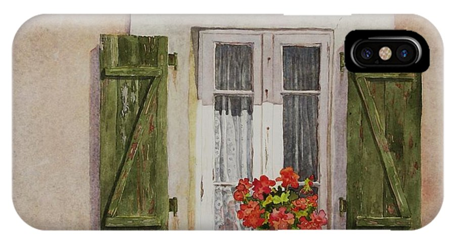 Watercolor IPhone Case featuring the painting Irvillac Window by Mary Ellen Mueller Legault