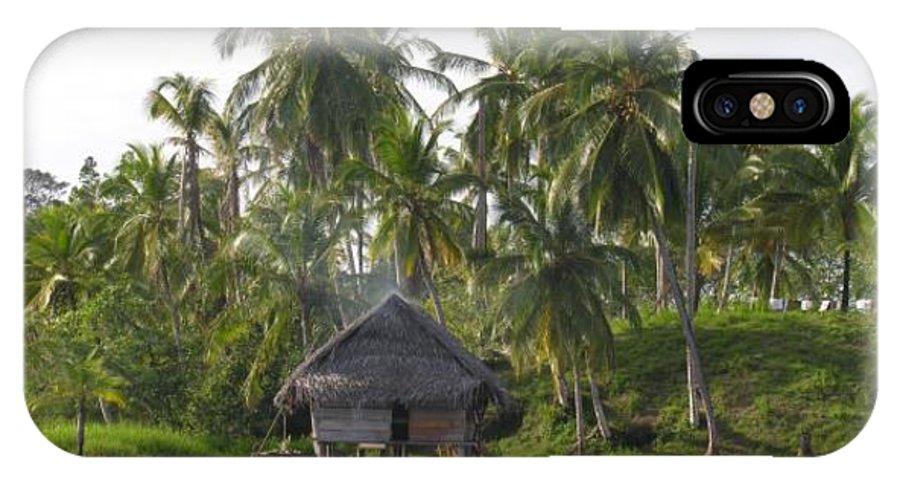 Tropics Water Sepia Bocas Panama Indian Life Palm Trees Island Beach Ngobe Bugle Comarca Cayuco Hut Over Water IPhone X Case featuring the photograph Isla Tigre - Hut Over Water And Palm Trees by Elle Nicolai