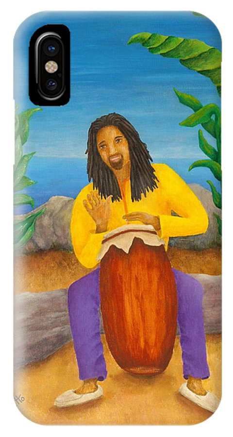 Pamela Allegretto IPhone X Case featuring the painting Island Beat by Pamela Allegretto