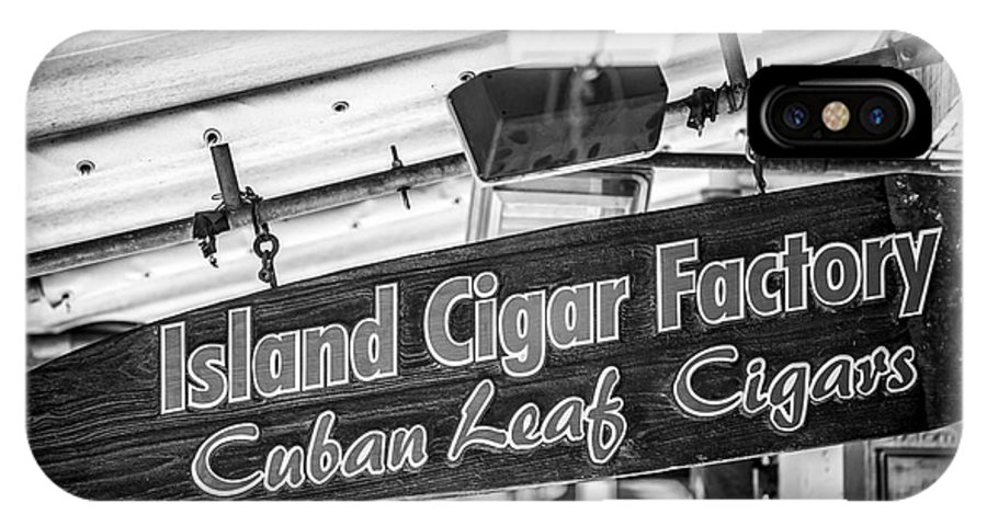 America IPhone X Case featuring the photograph Island Cigar Factory Key West - Black And White by Ian Monk