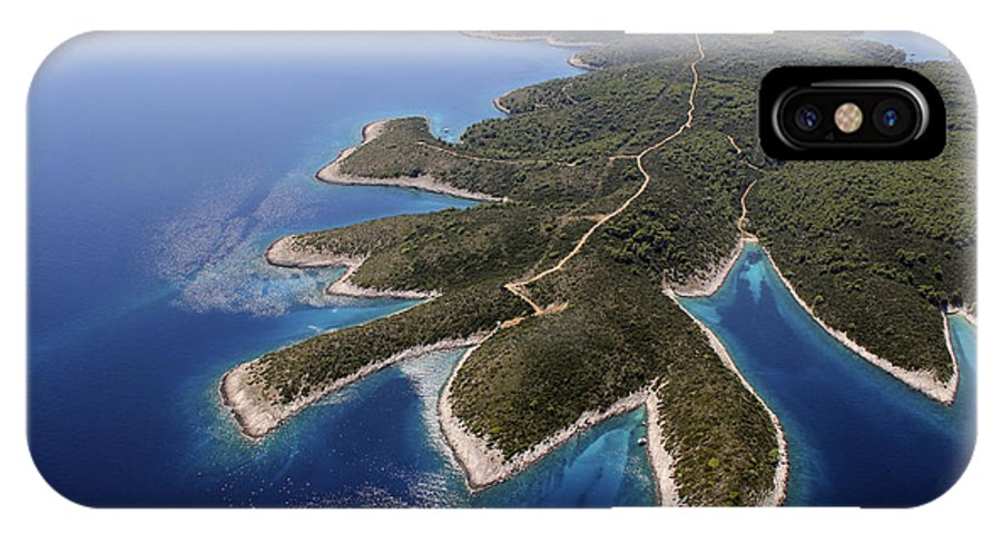 Island IPhone X / XS Case featuring the photograph island Hvar from air by Shu Fu