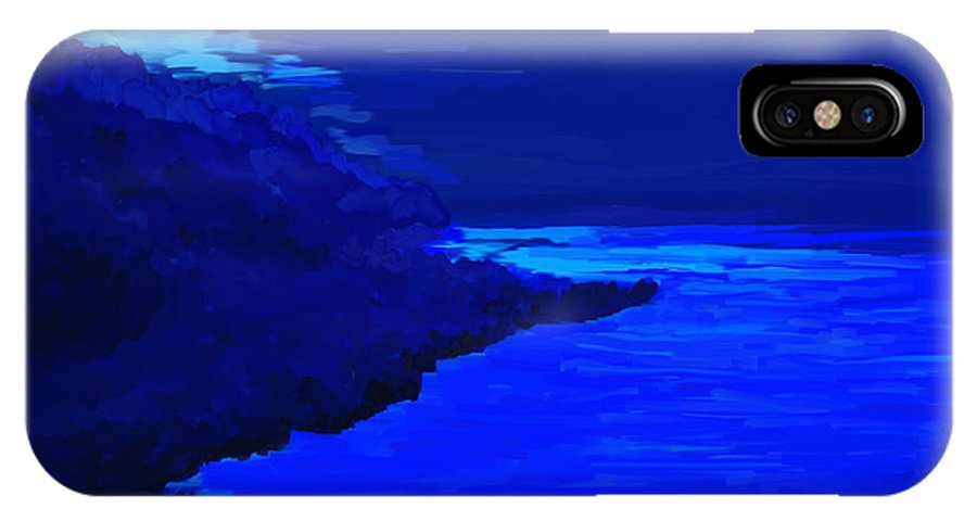 Blue IPhone X Case featuring the painting Island by Kume Bryant