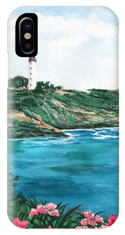 Lighthouse IPhone X Case featuring the painting Island Light Watercolor by Michelle Wiarda-Constantine