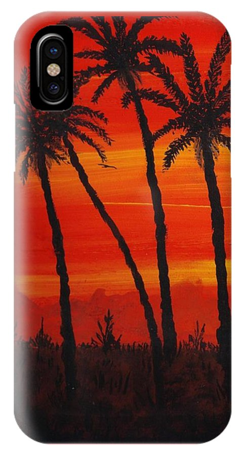 Island Sunset IPhone X Case featuring the painting Island Sunset by Joan Stratton