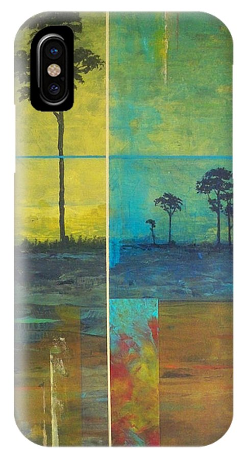 Landscape IPhone X Case featuring the painting Isolated Cypress I by Bryon Thompson