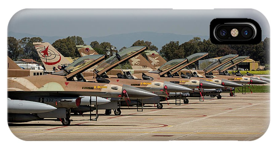 Greece IPhone X Case featuring the photograph Israeli Air Force F-16`s Of Three by Timm Ziegenthaler