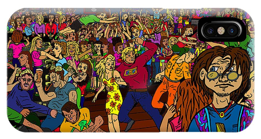 Nightclub Scene IPhone X Case featuring the drawing It Must Be Friday by Karen Elzinga