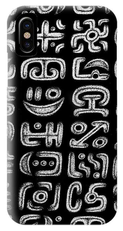 Hieroglyphs IPhone X Case featuring the drawing It Must Say Something Important by Victor Koryagin