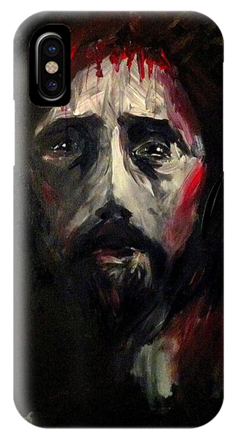 Jesus IPhone X Case featuring the painting It Was Love by Jun Jamosmos