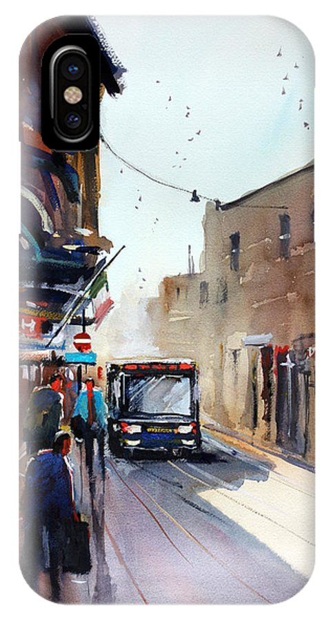 Ryan Radke IPhone X Case featuring the painting Italian Bus Stop by Ryan Radke