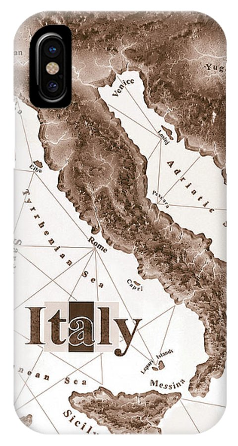 Italian IPhone X Case featuring the mixed media Italian Map by Curtiss Shaffer
