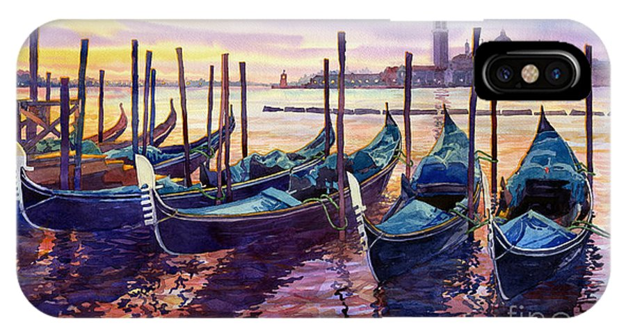 Watercolor IPhone X Case featuring the painting Italy Venice Early Mornings by Yuriy Shevchuk