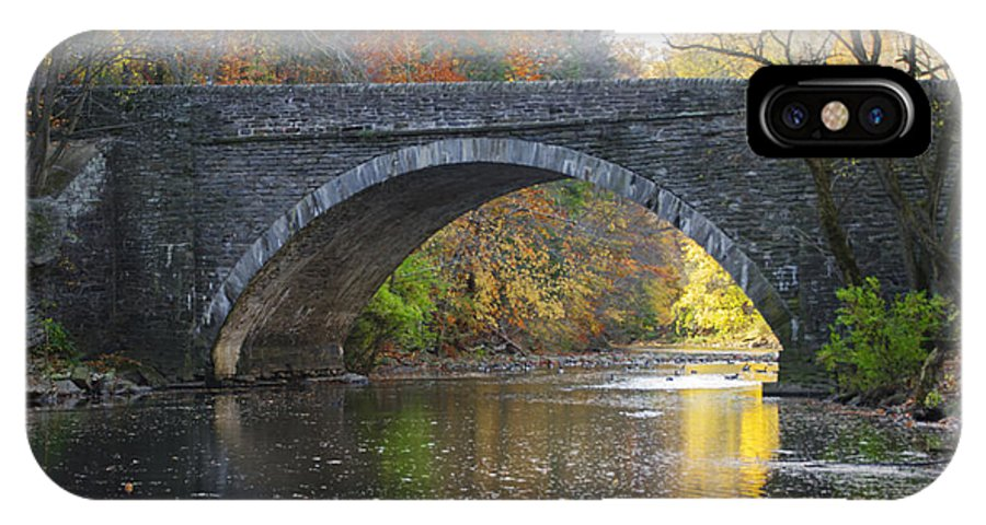 Autumn IPhone X / XS Case featuring the photograph It's Autumn At The Valley Green Bridge by Bill Cannon