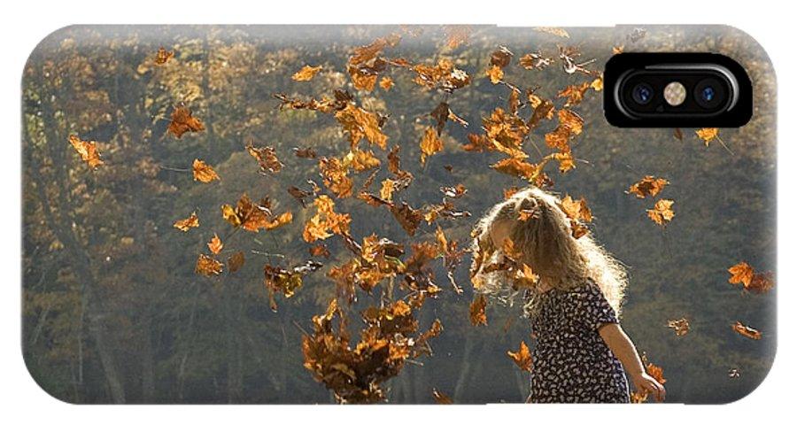 Autumn IPhone X Case featuring the photograph It's Raining Leaves by Carol Lynn Coronios