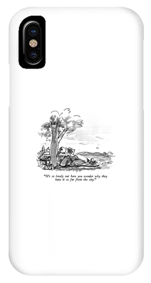 Relationships IPhone X Case featuring the drawing It's So Lovely Out Here You Wonder Why by Frank Modell