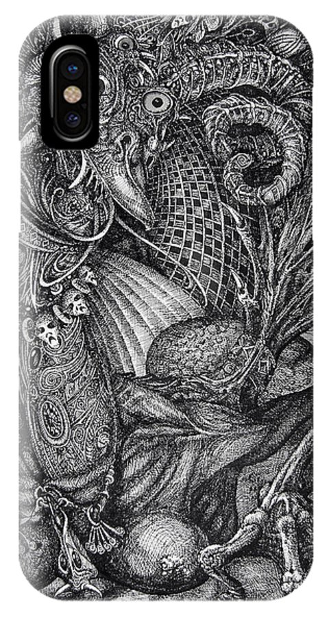 Surrealism IPhone X Case featuring the drawing Jabberwocky by Otto Rapp
