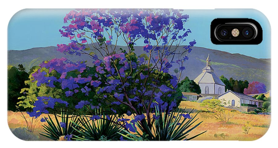 Acrylics IPhone Case featuring the painting Jacaranda Holy Ghost Church In Kula Maui Hawaii by Don Jusko