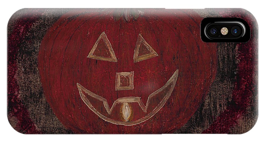 Pumpkin IPhone X / XS Case featuring the pastel Jack O Lantern Set On A Dark Background With Glowing Flame by Jessica Foster