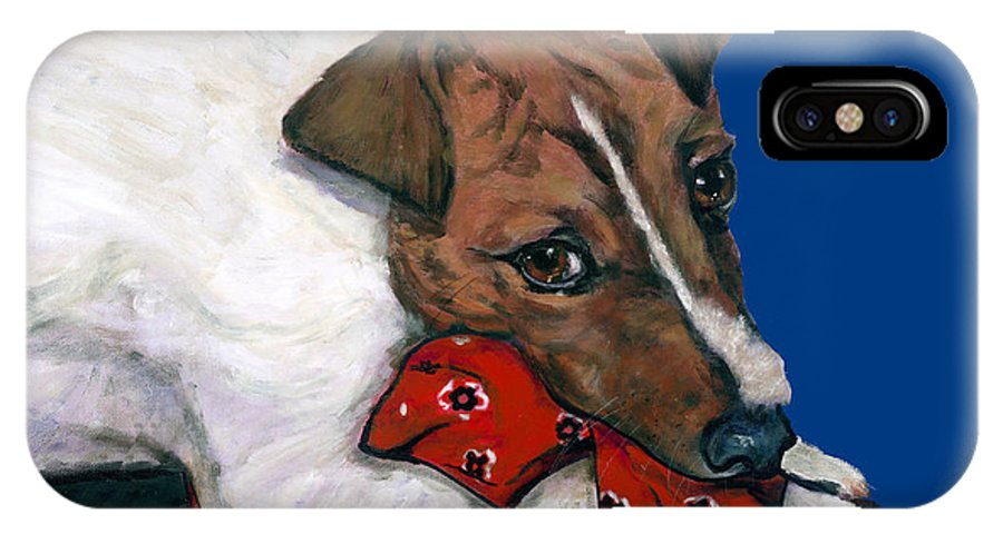 Dogs IPhone X Case featuring the painting Jack Russell With A Red Bandana by Dale Moses