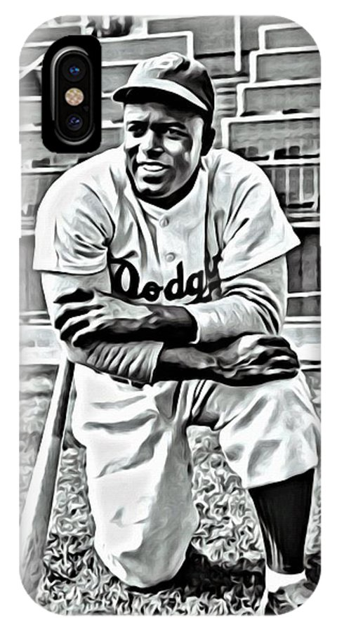 African Americans IPhone X Case featuring the painting Jackie Robinson Painting by Florian Rodarte