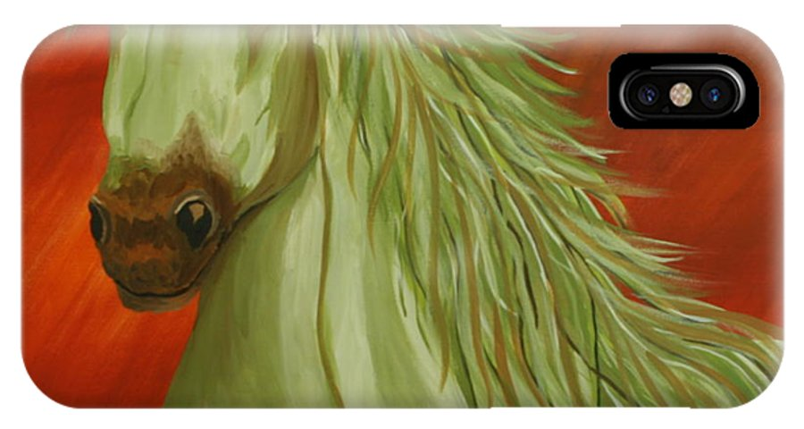 Horse IPhone X Case featuring the painting Jade Horse by Karen Rester